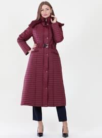 Maroon - Fully Lined - Polo neck -  - Coat