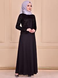 Black - Unlined - Crew neck - Dress