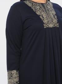 Navy Blue - Unlined - Crew neck - Viscose - Plus Size Dress