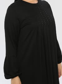 Black - Unlined - Crew neck - Viscose - Plus Size Dress