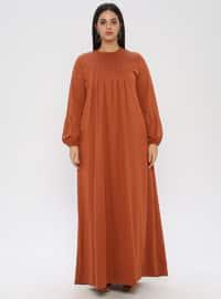 Orange - Unlined - Crew neck - Viscose - Plus Size Dress