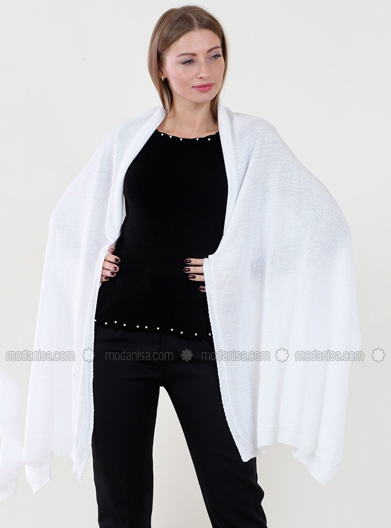 -  - White - Plain - Shawl Wrap