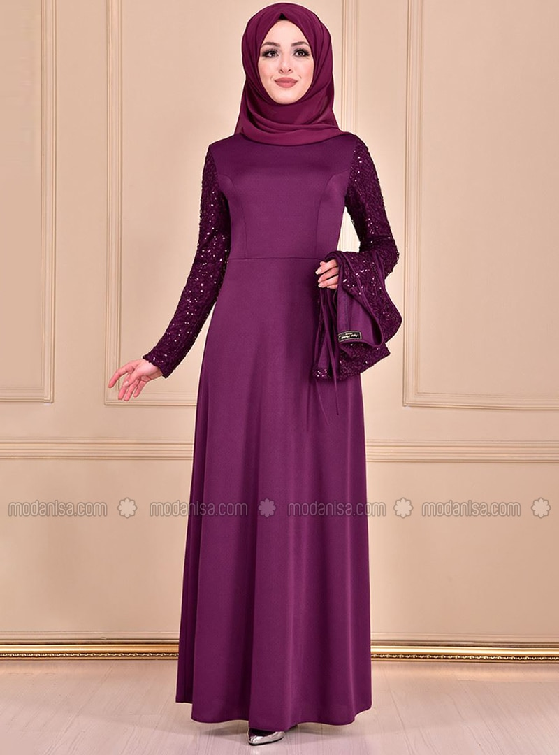 Purple - Unlined - Crew neck - Dress