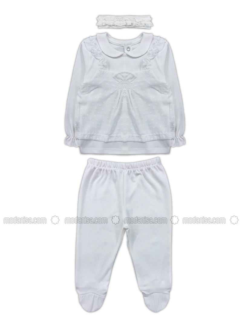 Round Collar -  - White - Baby Suit
