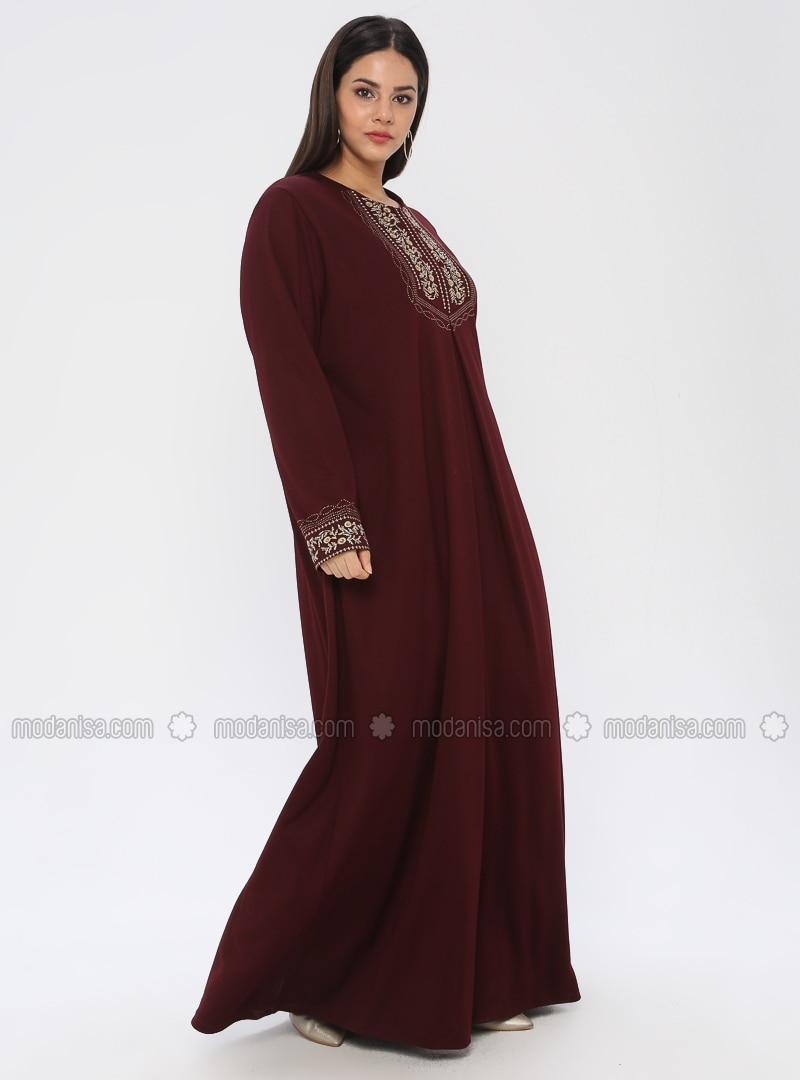 Maroon - Unlined - Crew neck - Viscose - Plus Size Dress