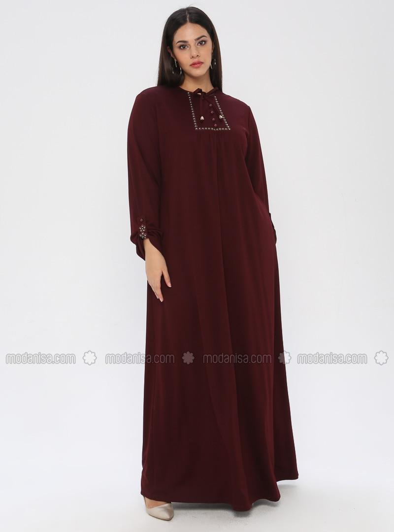Maroon - Unlined - Crew neck - Plus Size Dress