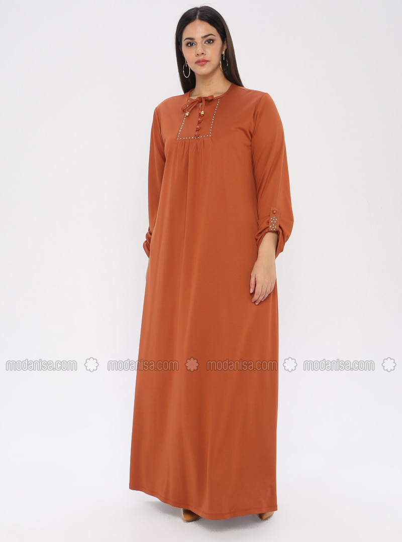 Orange - Unlined - Crew neck - Plus Size Dress