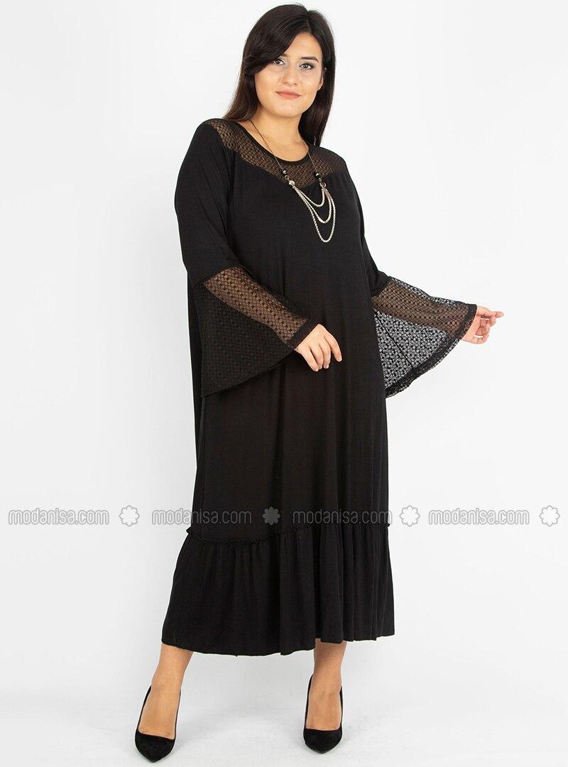Black - Unlined - Boat neck - Viscose - Plus Size Dress