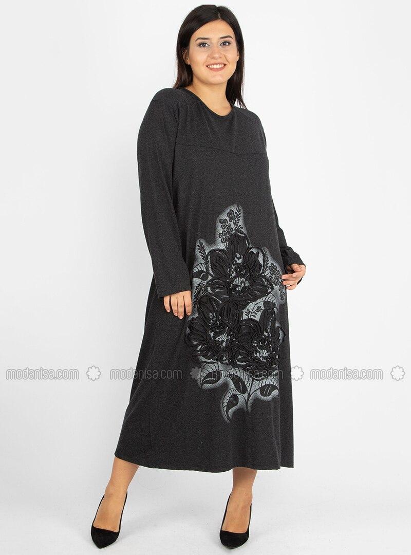 Smoke - Unlined - Boat neck - Viscose - Plus Size Dress