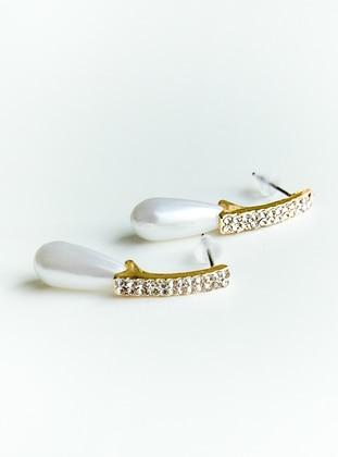 Gold - Ecru - Earring