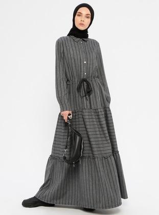 Gray - Stripe - Point Collar - Unlined - Dress