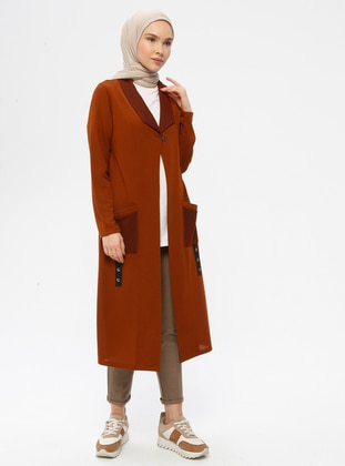 Terra Cotta - Unlined - Shawl Collar - Viscose - Jacket