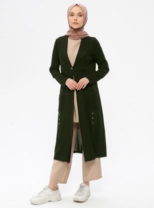 Khaki - Unlined - Shawl Collar - Viscose - Jacket
