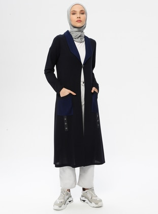 Navy Blue - Unlined - Shawl Collar - Viscose - Jacket