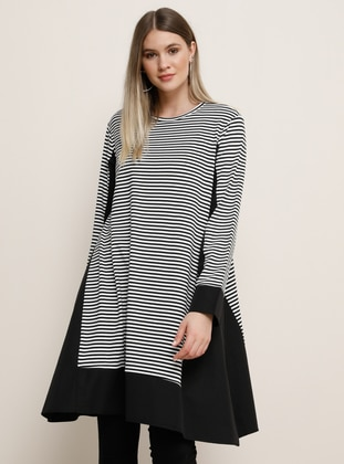 White - Black - Stripe - Crew neck - Viscose - Plus Size Tunic