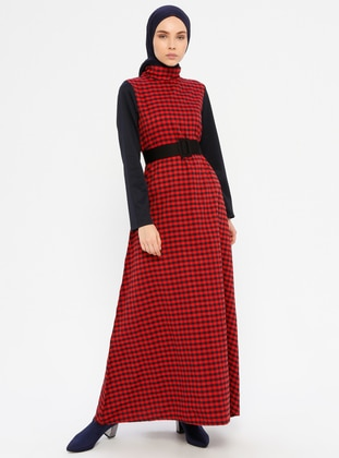 Red - Plaid - Polo neck - Unlined - Dress