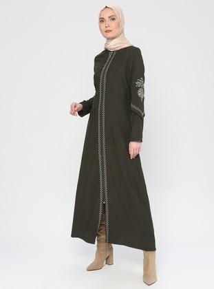 Khaki - Ethnic - Crew neck - Unlined - Abaya