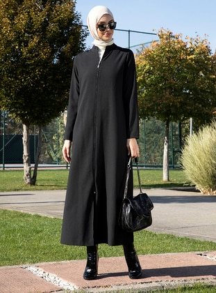 Black - Unlined - Crew neck - Abaya - Tavin