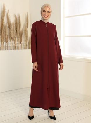 Zippered Abaya - Claret Red