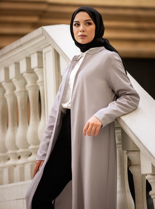Gray - Gray - Unlined - Crew neck - Abaya