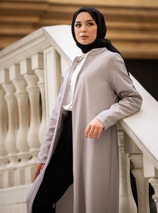Zippered Abaya - Gray