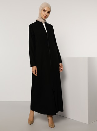 Black - Black - Unlined - Crew neck - Abaya - Tavin