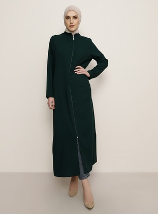 Green - Emerald - Unlined - Crew neck - Abaya