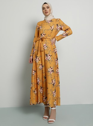 Mustard - Yellow - Floral - Polo neck - Unlined - Dress