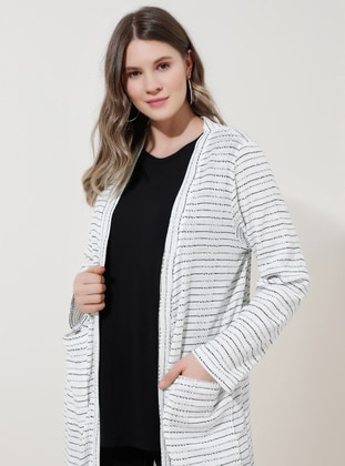 White - Black - Multi - Acrylic -  - Plus Size Cardigan - Alia