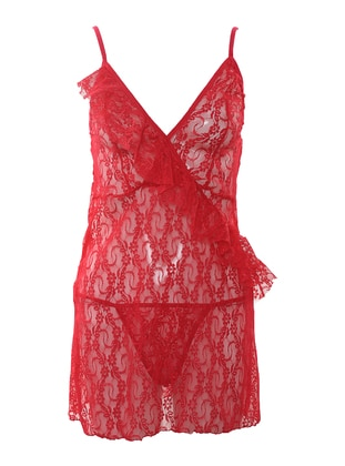 Fuchsia - V neck Collar - Nightdress