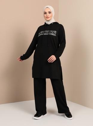 Hooded Printed Tracksuit Set - Black