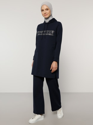 Navy Blue -  - Navy Blue - Unlined -  - Tracksuit Set - Tavin