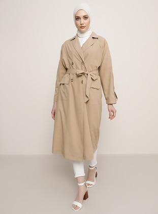 Beige - Shawl Collar - Trench Coat - Refka