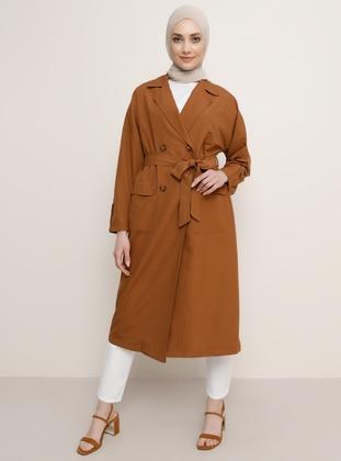 Camel - Brown - Shawl Collar - Trench Coat - Refka