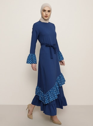 Indigo - Polka Dot - Crew neck - Unlined - Dress