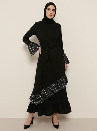 Black - Polka Dot - Crew neck - Unlined - Dress