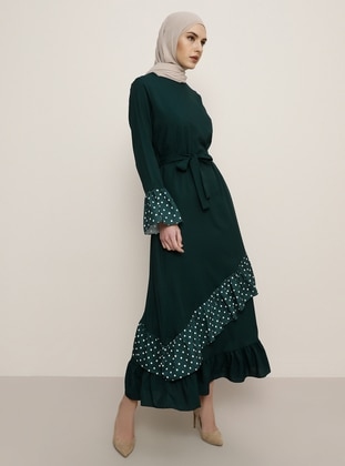 Emerald - Polka Dot - Crew neck - Unlined - Dress