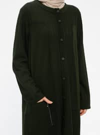 Khaki - Unlined - V neck Collar - Viscose - Jacket