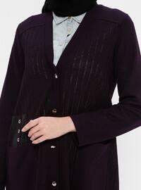 Plum - V neck Collar - Viscose - Cardigan