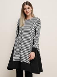 White - Black - Stripe - Crew neck - Viscose - Plus Size Tunic