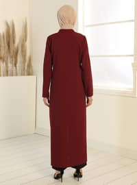 Zippered Abaya - Claret Red
