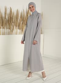 Zippered Abaya - Gray
