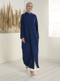 Zippered Abaya - Indigo