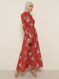 Tuğla - Çiçekli - Balıkçı Yaka - Astarsız kumaş - Elbise