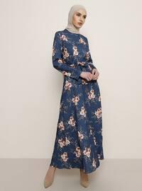 Lacivert - Çiçekli - Balıkçı Yaka - Astarsız Kumaş - Elbise
