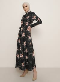 Siyah - Çiçekli - Balıkçı Yaka - Astarsız kumaş - Elbise