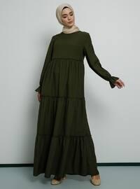 Haki - Balıkçı Yaka - Astarsız kumaş - Elbise
