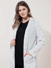 White - Black - Multi - Acrylic -  - Plus Size Cardigan