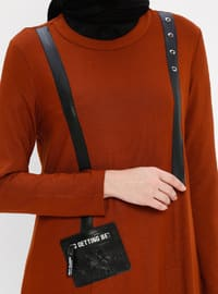 Camel - Crew neck - Viscose - Tunic