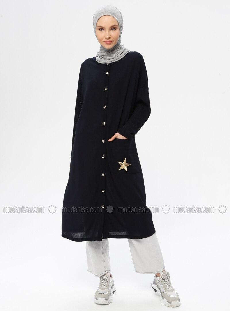 Navy Blue - Unlined - V neck Collar - Viscose - Jacket